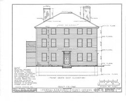 HABS Pownalborough Court House Street Side Drawing 1936