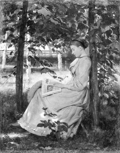 Young Girl Reading by Seymour Joseph Guy, 1877